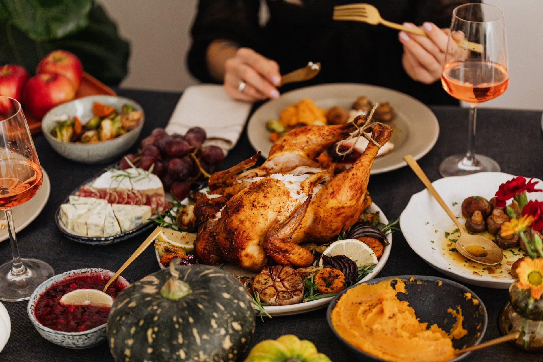 roasted turkey on white ceramic plate